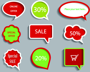 colored sale labels vector