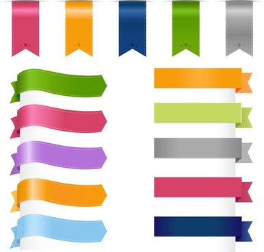 decorative labels stickers templates shiny 3d ribbon shapes