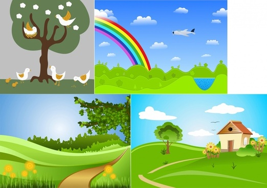 colored sceneries cartoon vector illustration