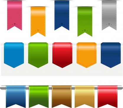 colored silk wrap angle labels vector