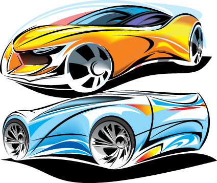 colored sport car elements vector