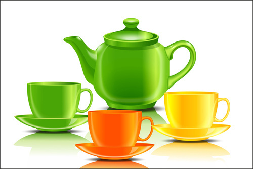 colored teacup and teapot vector