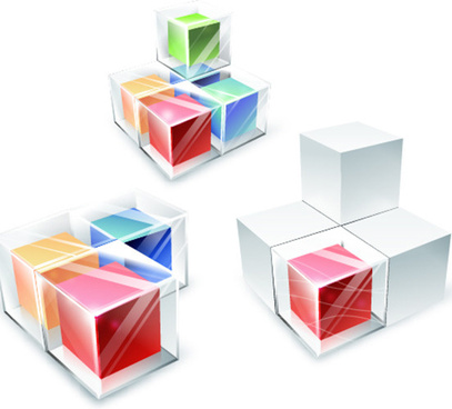 colored transparent cube vector background