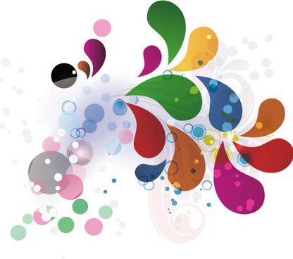 colored water drop shapes background vector