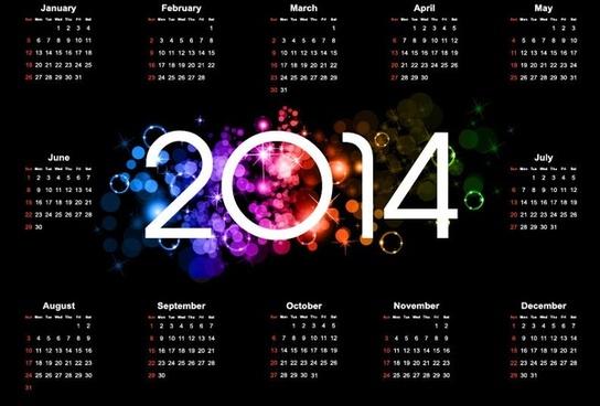 colorful14 calendar design on dark background