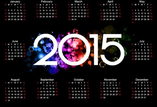 colorful15 calendar design on dark background
