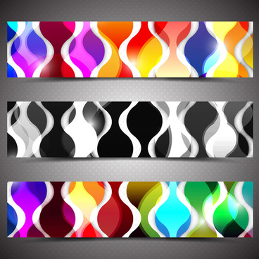 colorful abstract banners design sets