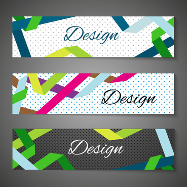 colorful abstract banners design with spots background