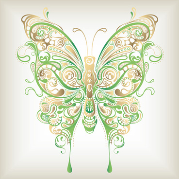 colorful abstract butterfly elements vector