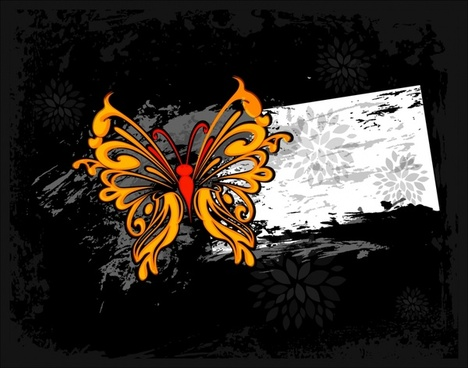 decorative background template butterfly sketch dark grunge