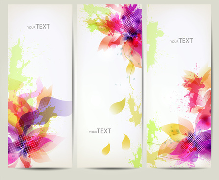 colorful abstract flower banner