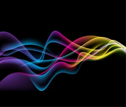 Colorful Abstract Waves on Black Background Vector Graphic