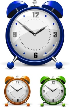 alarm clock icons shiny colored contemporary design