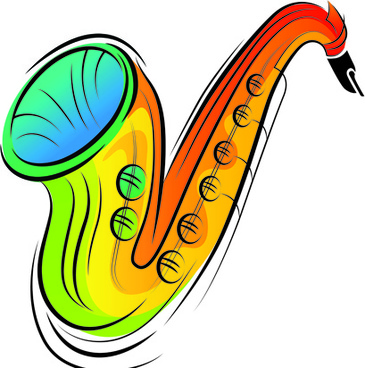 colorful animal and musical instruments illustrations vector