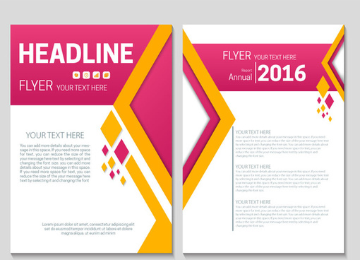 colorful annual report flyer template with geometric arrangement