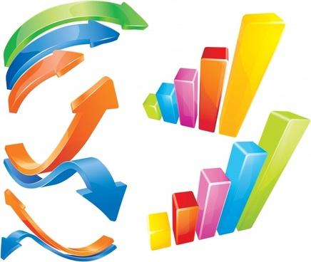 chart design elements arrow column icons colorful 3d