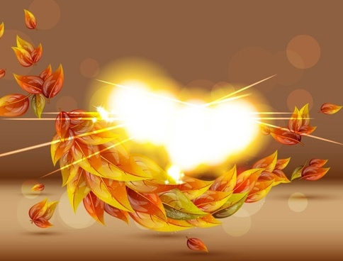 colorful autumn leaves card 01 vector