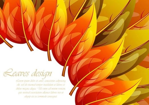 colorful autumn leaves card 02 vector