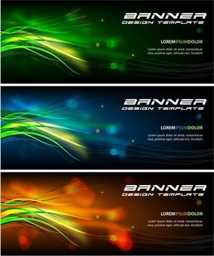 decorative banner templates modern shiny colored bokeh decor