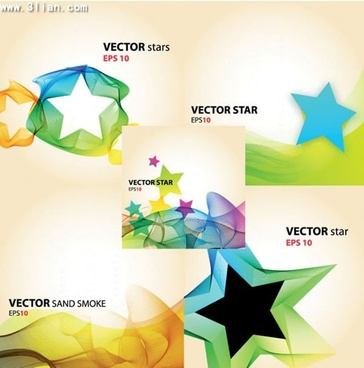 background design elements modern bright stars dynamic waves
