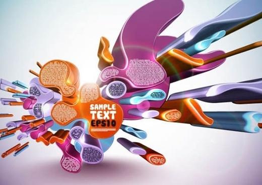 technology background modern colorful deformed 3d shapes