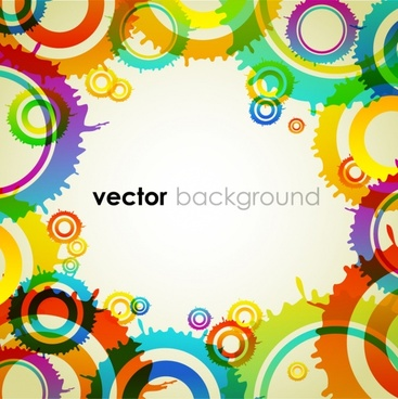 decorative background template modern bright colorful painted circles