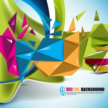decorative background template colorful dynamic 3d geometry