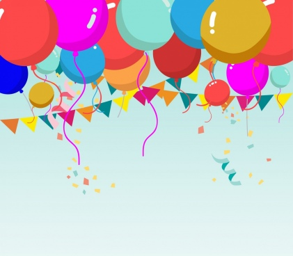 colorful balloon background ribbon decoration cartoon style