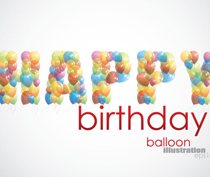 colorful balloon consisting of alphabet with numbers vector