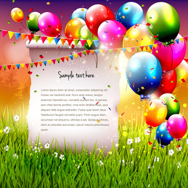 colorful balloon with confetti and grass background