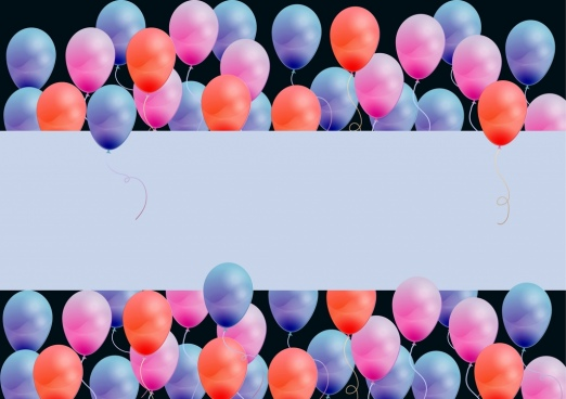 colorful balloons background card sketch blank for text