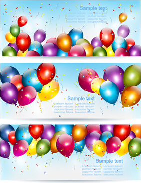 colorful balloons banners birthday vector