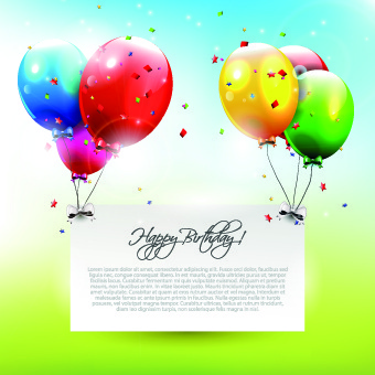 Colorful Balloons Happy Birthday Greeting Cards Background