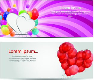 colorful balloons holiday banner vector set