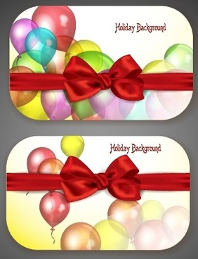 colorful balloons holiday cards vector