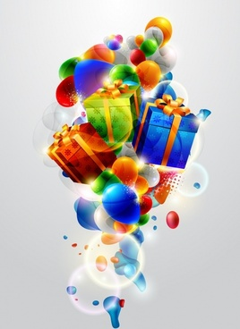 colorful balloons vector christmas gift box