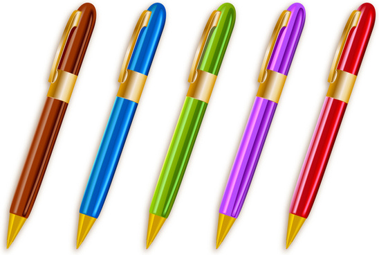 colorful ballpoint pens set