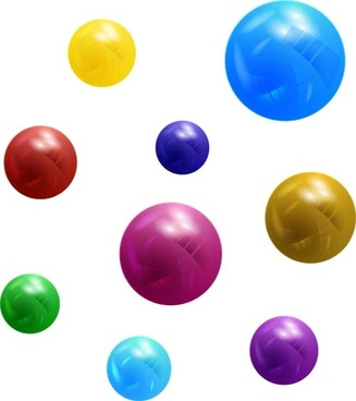 colorful balls design element vector set