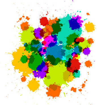 colorful blot spatter vector design set