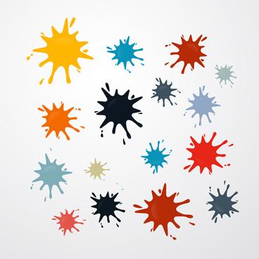 colorful blot spatter vector design set