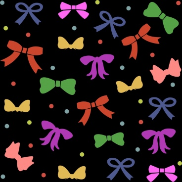 colorful bows background repeating flat style
