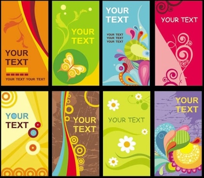 card templates colorful classical abstract decor