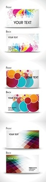 business card template colorful petals sketch