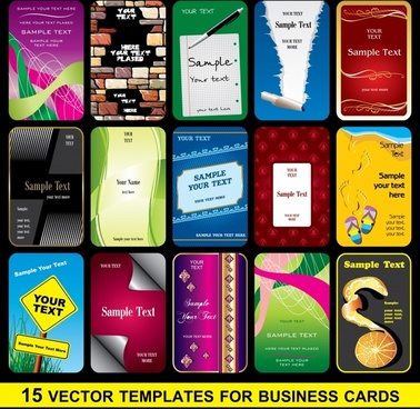 business card cover templates colorful modern decor