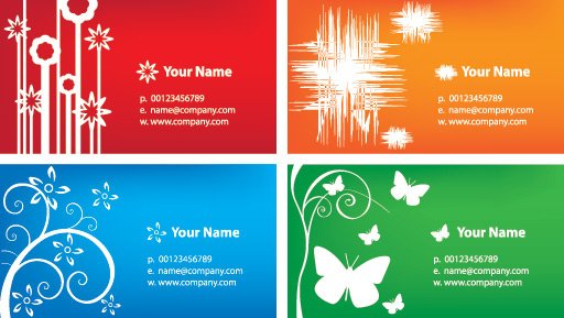 colorful business cards vector graphic