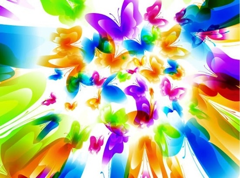 butterflies background template modern colorful deformed motion design