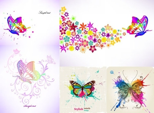 colorful butterfly theme vector