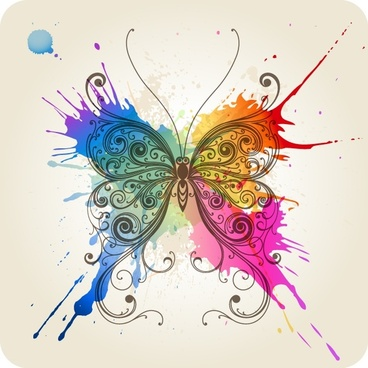 butterfly background classical sketch colorful grunge paint decor