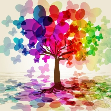 butterflies tree background colorful 3d blurred sketch
