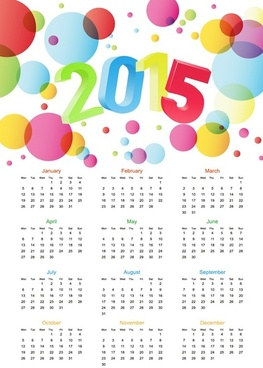 colorful calendar15 vector illustration